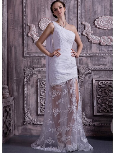 white chiffon lace one shoulder beading ball gown wedding dress