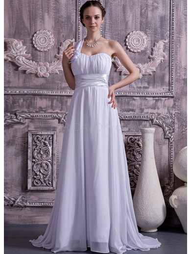 white elastic satin chiffon one shoulder ball gown wedding dress
