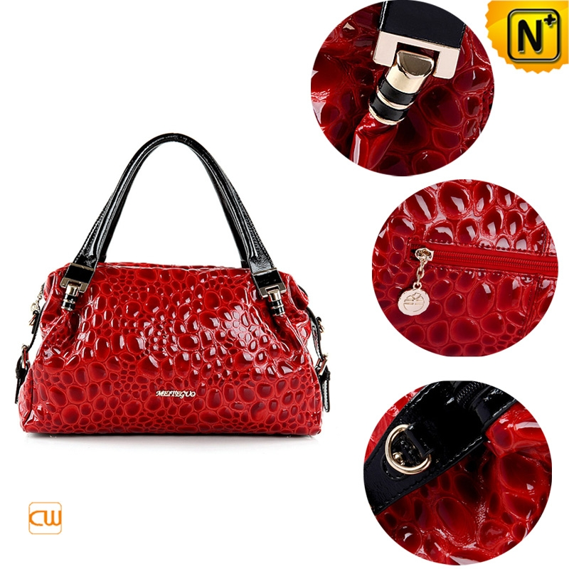 women black/red leather tote bags cw300207 - cwmalls.com