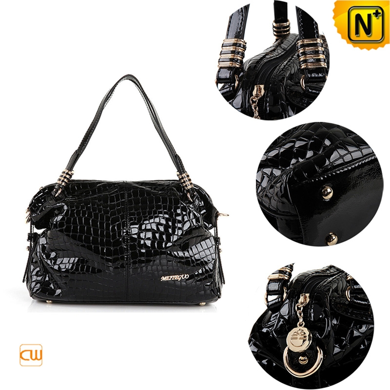 women leather shoulder handbags black/red cw300205 - cwmalls.com
