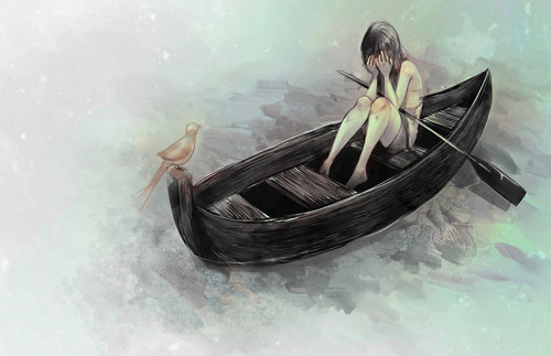 anime, bird, boat, crying, girl, ocean, sad