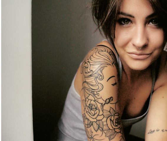 arm tattoo, bow tattoo, girl, hair, pretty, sexy, sleeve, tattoo