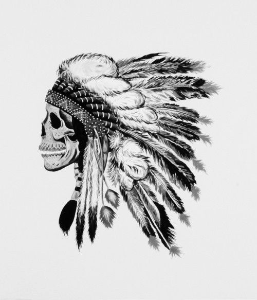 art, black and white, indian, skull