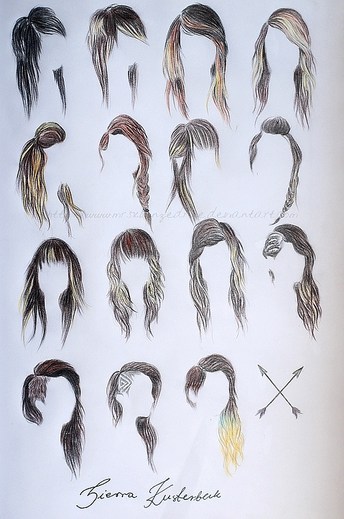 Hairstyles For Long Hair Drawing : art, drawing, girl, hair - image #602606 on Favim.com