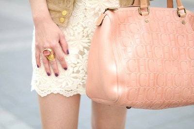bag, cute, dress, fashion, girl, gold, lace, luxury, model, nailpolish, nails, opi, outfit, pink, pretty, rings, white