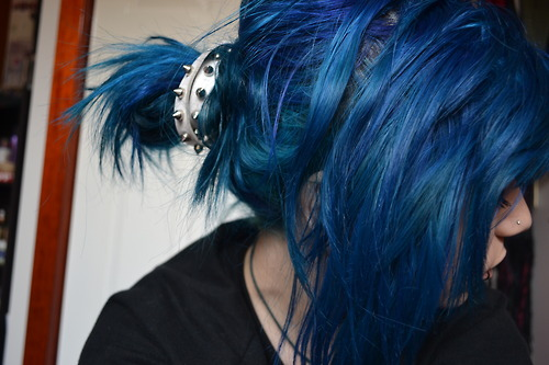 beautiful, blue, blue hair, dip dye