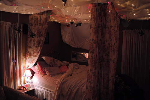 bed bedroom cool lights night photography pink purple room