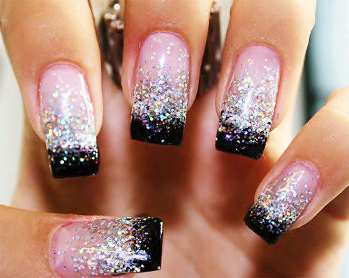 black and white, glitter, nails - image #608316 on Favim.com