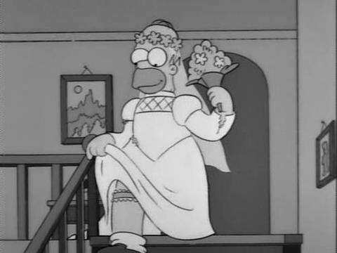 black and white and homer simpson