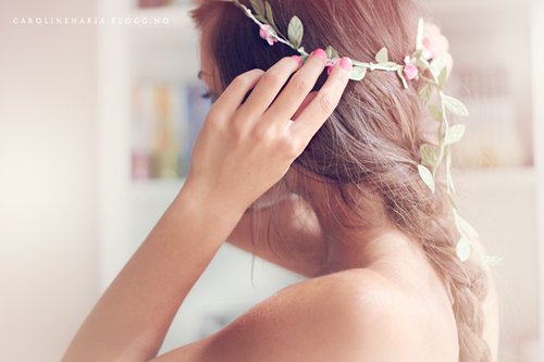 blossom, braid, brunette, fashion, flower, girl, green, love, lovely, nice, pastel, photography, pink, pretty, style, sweet