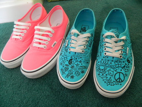 blue and pink, cool, cute, shoes, vans, vintage