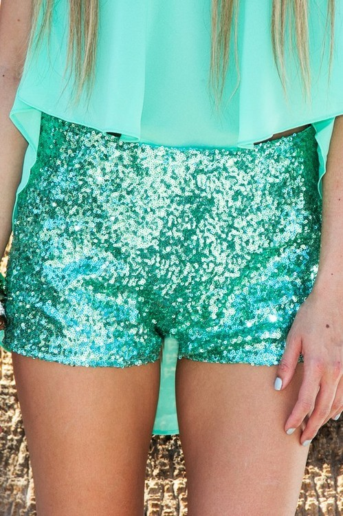 blue, glitter, green, kawaii, pretty, shimmer, shorts, sparkle