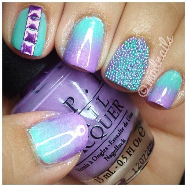 Teal And Purple Nail Designs