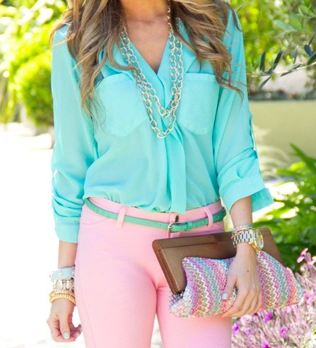 clutch, cool, fashion, outfit, pink, style, turquoise