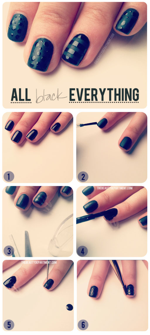easy, black, black nails, cute