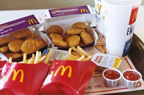french fries, mcdonalds, chicken nuggets, deep fried