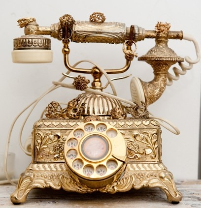 gold, old-fashioned, phone, princess, rococo, shine, style
