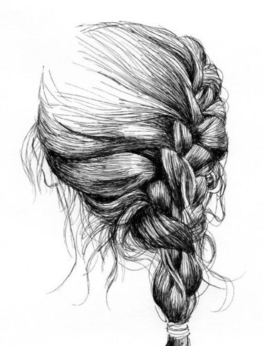 paper, art, beautiful, black and white - image #592975 on ... Braided Hair Drawings Tumblr