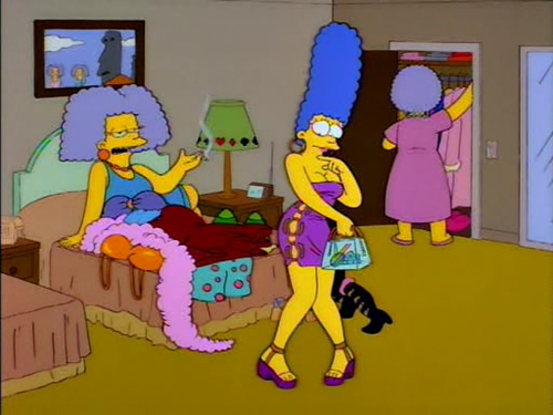 blue hair, boobies, cartoon, cleavage, funny, laugh, lol, marge, marge simpson, prostitute, slag, slut, smoke, the simpsons, whore, yellow